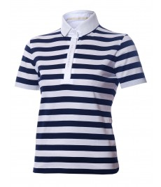 woman polo shirt fine stripe