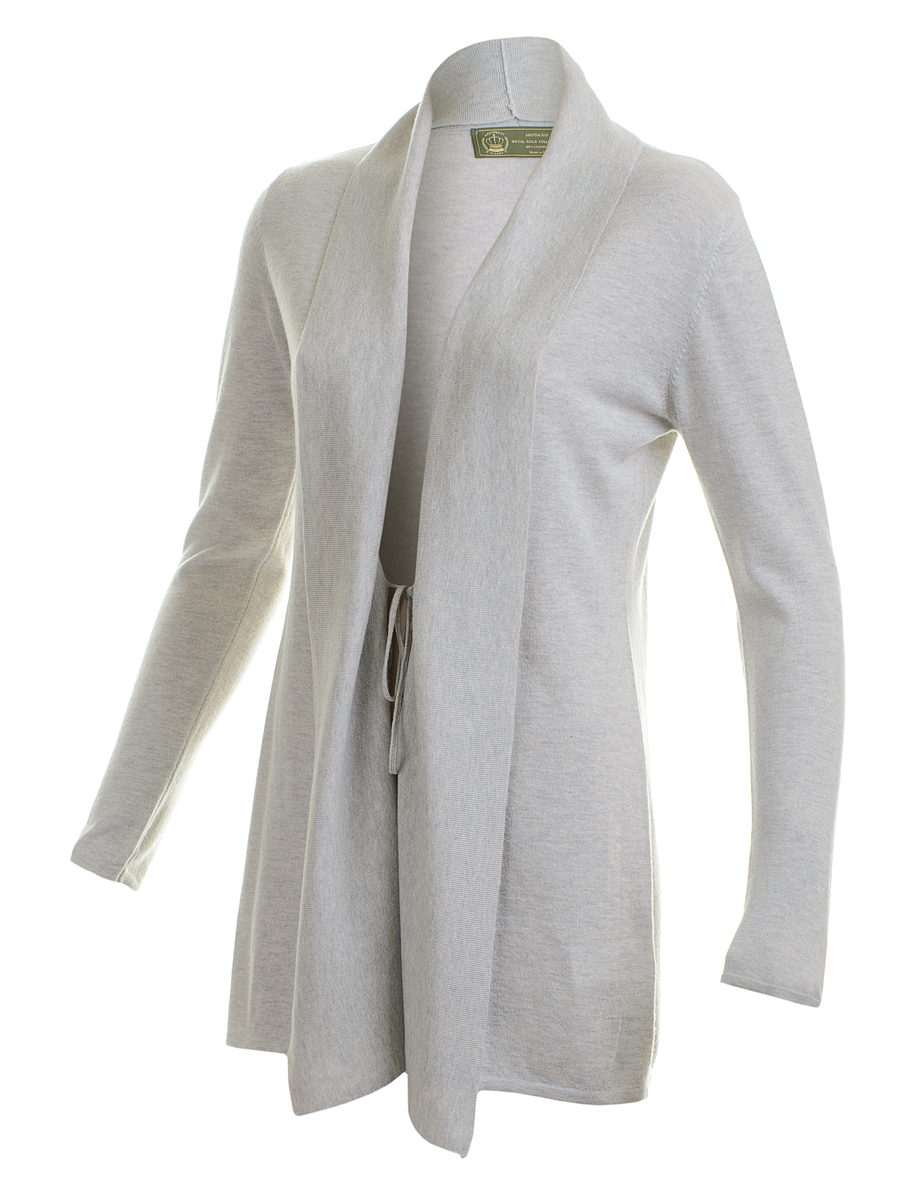 Grey woman long cashmere cardigan