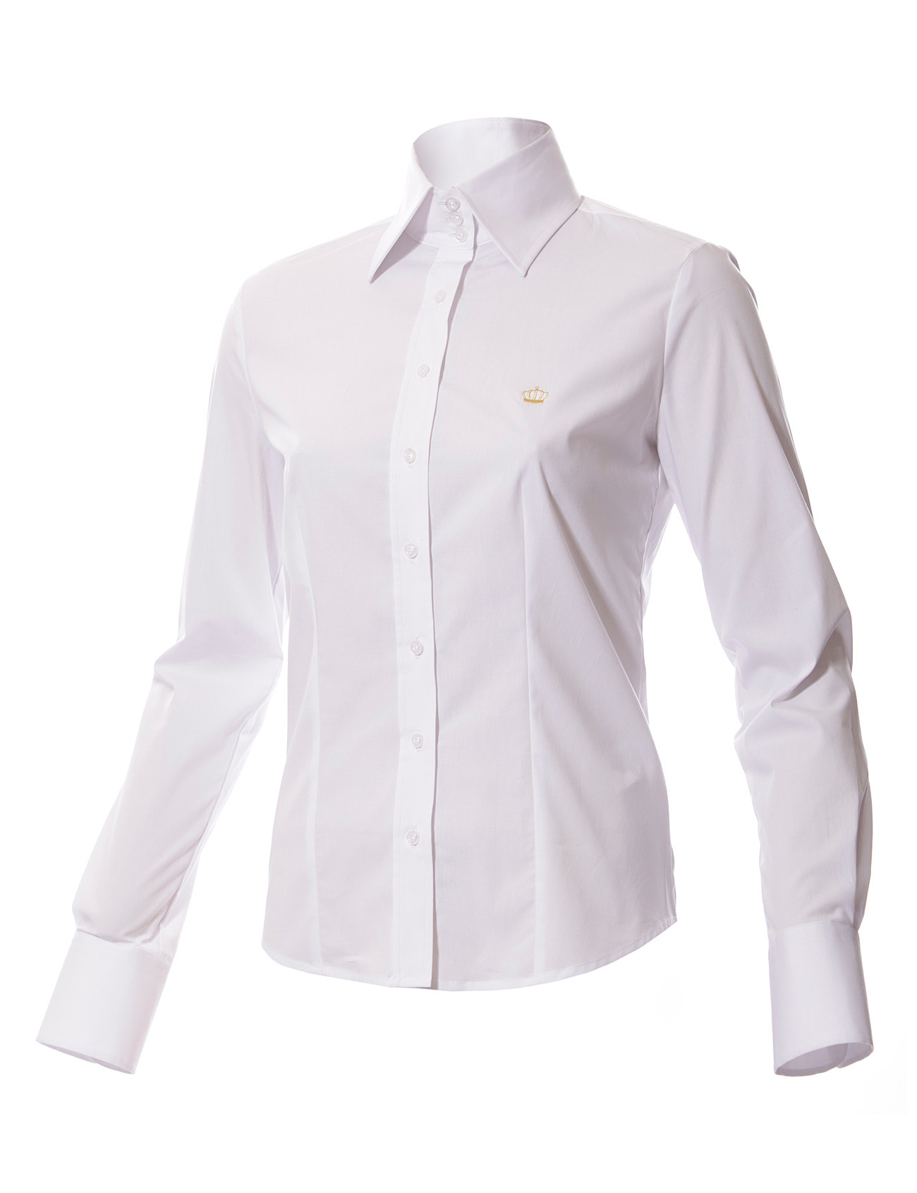 White woman shirt high collar